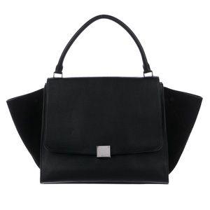 Celine Black Handbag in Black Drummed Calfskin